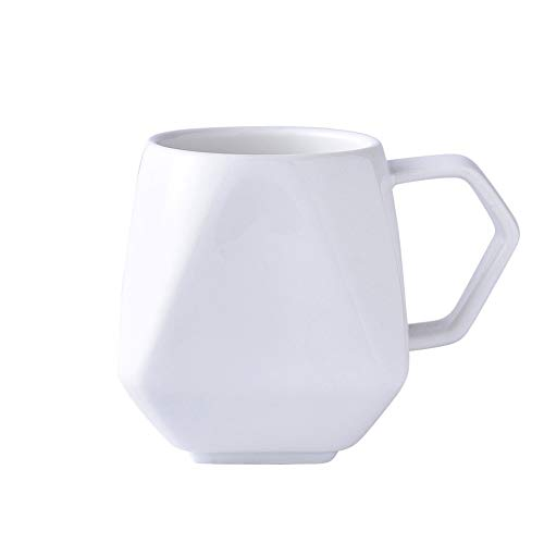 WxberG Taza de café de 9 onzas, taza de té de cerámica blanca, taza de porcelana de forma irregular para café, té, zumo, cacao
