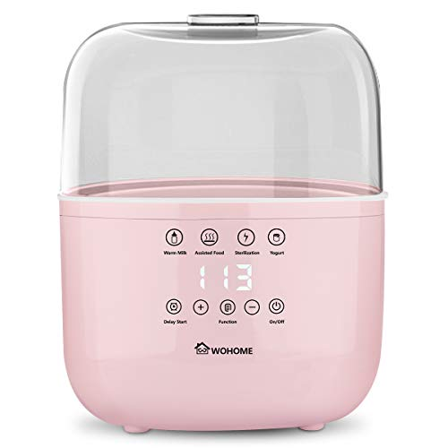 Bottle Warmer Sterilizer WOHOME Baby Bottle Warmer Quickly Heating Warm Milk Assisted Food with LED Display and Delay Start Function Pink
