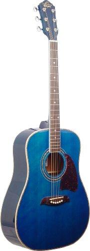 Oscar Schmidt OG2TBL - Guitarra acústica con cuerdas metálicas (tipo dreadnought), color azul