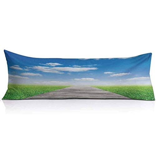 LCGGDB Country Body Pillowcase,Pathway Towards Meadow Rural Countryside Miracle Supernatural Sky with Clouds Decorative Body Pillow Cover for Adults Pregnant Woman,1PCS,Blue Green Brown