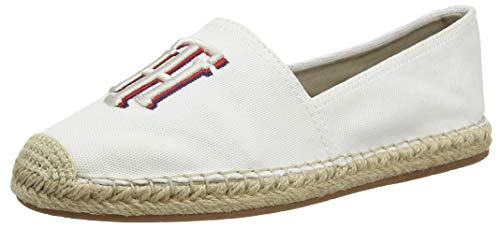 Tommy Hilfiger Damen Nautical TH Basic Espadrille Peeptoe Pumps, Weiß (Ivory Ybi), 39 EU