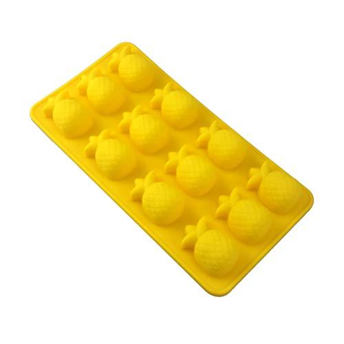 Amosfun Silikon Backform Ananas Form Silikon-Praline-Form Plätzchen Kuchenform Eiswürfelbehälter gelb