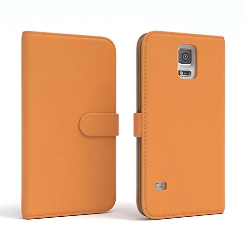 EAZY CASE Tasche kompatibel mit Samsung Galaxy S5/LTE+/Duos/Neo Schutzhülle mit Standfunktion Klapphülle Bookstyle, Handytasche Handyhülle mit Magnetverschluss & Kartenfach, Kunstleder, Orange