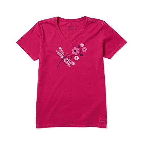 Life Is Good Crusher Vee T-Shirt pour Femme Motif libellules Taille XXXL Dragonflowers Sangria Rouge