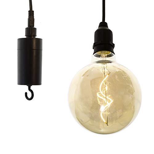 Connox Collection LED-Akku-Deko-Pendelleuchte mit Timer und Haken, schwarz, (Indoor/Outdoor) Dekoration und Beleuchtung, Lampe geeignet für Garten, Balkon und Wohnzimmer