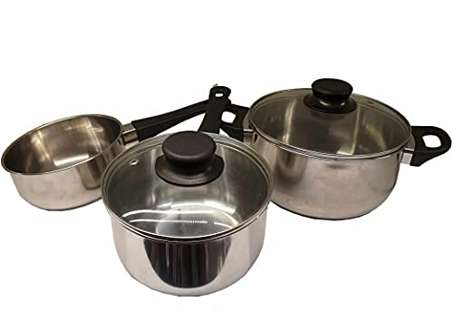 Ikea Annons 5-Piece Saucepan Set with Glass Lid Induction Stainless Steel