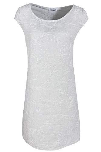 PEKIVESSA Damen Leinenkleid Häkel-Stickerei Sommerkleid Hellgrau 42 (Herstellergröße XL)