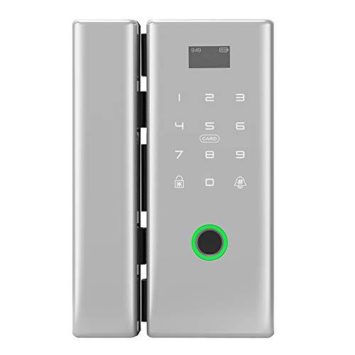 Quskto Serrure de Porte Intelligente, Bluetooth électronique Intelligente à Distance par Mot de Passe en Verre de Porte d'empreintes digitales de Verrouillage for la Maison Installation de Bricolage