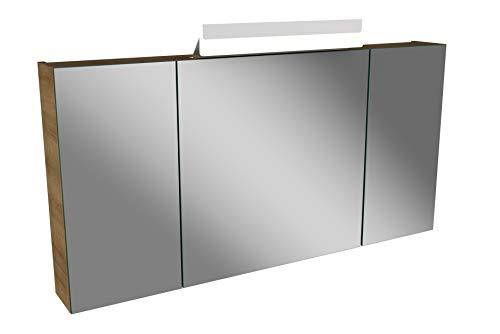 Lanzet LED Spiegelschrank L1 / Badschrank mit LED Leuchte/Maße (B x H x T): ca. 120 x 68 x 14,5 cm/Möbel fürs Bad oder WC/Badezimmer Schrank mit 3 Türen/Korpus: Braun hell/Front: Spiegel