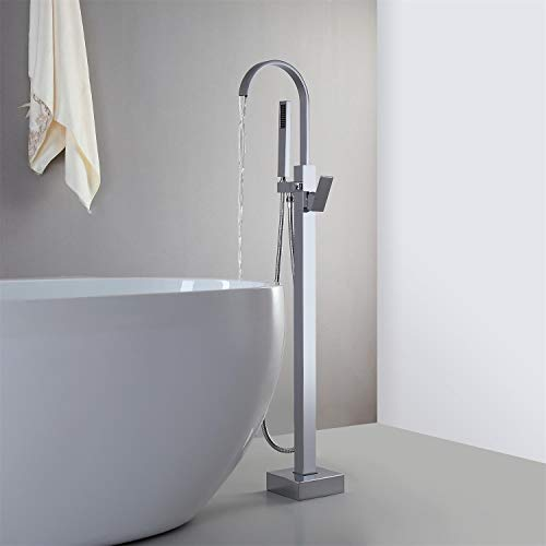 JiaYouJia Freestanding Tub Faucet Floor Mounted Bathtub Filler with Handheld Shower Single Handle Bathroom Faucet with Diverter Polished Chrome