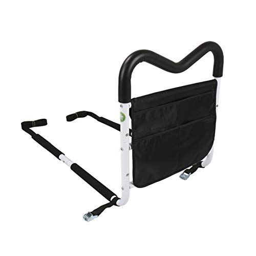 QFF Adjustable Height Bed Rail Safety Assist Handle for Elderly,Bed Assist Bar with Storage Pocket,Home Care Handicap Safety Assistance Devices