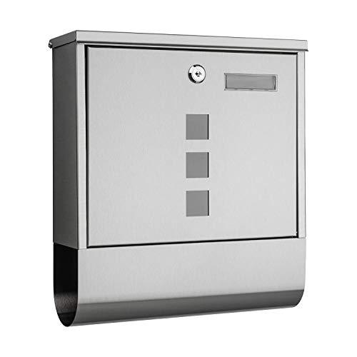 1PLUS Briefkasten Postkasten Wandbriefkasten mit Zeitungsrolle/Zeitungsfach mit schützender Beschichtung (mit Namensschild, Edelstahl)