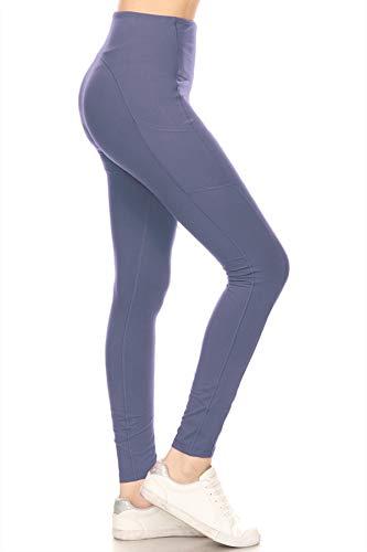 Leggings Depot YL7A-DENIMBLUE-M High Waisted Athletic Side Pockets Yoga Pants-Denimblue, Medium