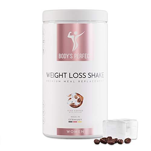 BODY'S PERFECT® Weight Loss Shake für Frauen, Diät Shake zur Gewichtskontrolle mit hochwertigem Protein, Mahlzeitersatz mit allen wichtigen Vitaminen und Mineralstoffen, 500g (Eiskaffee)