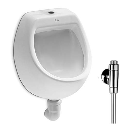 VBChome- Set: Urinal Zulauf Oben Weiß Modern Hochwertig Keramik Pinkelbecken senkrecht Pissoir Mini + Spülventil Urinalspüler Druckspüler ALTERNA IRIS
