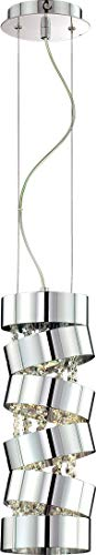 "Eurofase 20389-017 Ariella Modern Crystal Round Mini Pendant Light, 1-Light 50 Watt, 17""H x 6""Dia, Chrome"