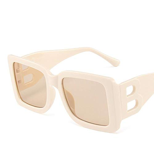 YHKF Gafas De Sol Cuadradas De Moda para Mujer, Montura Grande Vintage, Gafas De Sol para Hombre, Gafas De Gran Tamaño Uv400, Beige