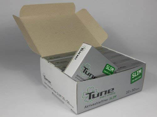 500 TUNE SLIM Aktivkohlefilter 10 x 50er Box Display 7mm Eindrehfilter Filter Tips Filtertips Aktivkohle by actiTube