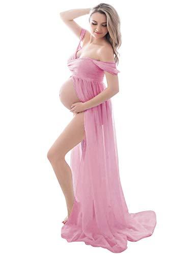 FEOYA - Falda Larga de Fotografia de Maternidad para Mujer Vestido Premamá para Atrezzo Fotografia Sesión de Fotos Disfraz Verano Vestido Largos Embarazada con Frente Dividido - M