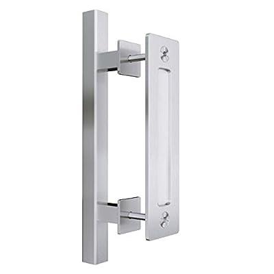 """SMARTSTANDARD 12"""" Pull and Flush Square Door Handle Set Stainless Steel Door Pull Handle Sliding Barn Door Hardware Handle"""