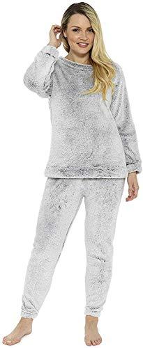 Pyjama für Damen und Mädchen, Pyjama-Set, gemütlich, kuschelig, warm, Fleece Gr. 38, hellgrau