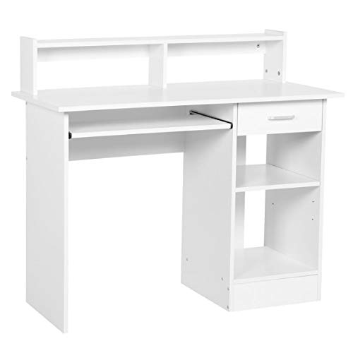 Yaheetech Schreibtisch Computertisch mit Ablage Bürotisch PC-Tisch Tisch für Home Office 106 x 50 x 94 cm