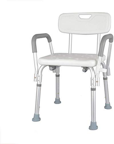Taburete de baño de aluminio ligero, portátil, con respaldo, altura ajustable, 150 kg, para personas mayores