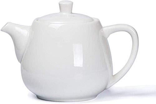 Tetera, tetera de hierro fundido, tetera, set de té de cerámica, porcelana blanca, moderna y de cerámica con filtro, 900 ml, decoración del hogar