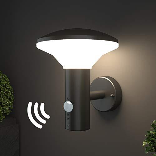 NBHANYUAN Lighting® LED Aussenleuchte mit Bewegungsmelder Aussenwandleuchten für Balkon Schwarz Edelstahl 3000K Warmweiß Licht 9.5W IP44 220-240V