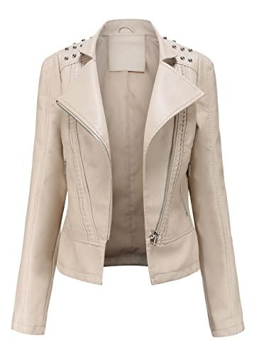 Chaqueta de piel sintética para mujer para motociclista, abrigo corto, ropa de otoño e invierno, Blanco crema., L
