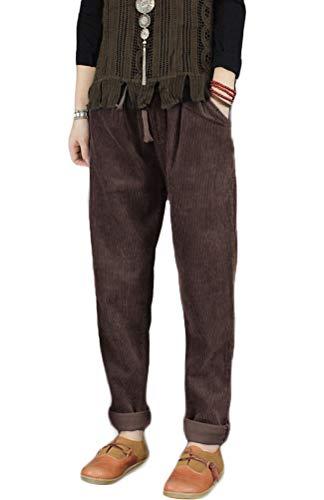 Mallimoda Donna Pantaloni Larghi Cotone Pantalone Vita Alta Harem Pantaloni di Velluto a Coste caffè L