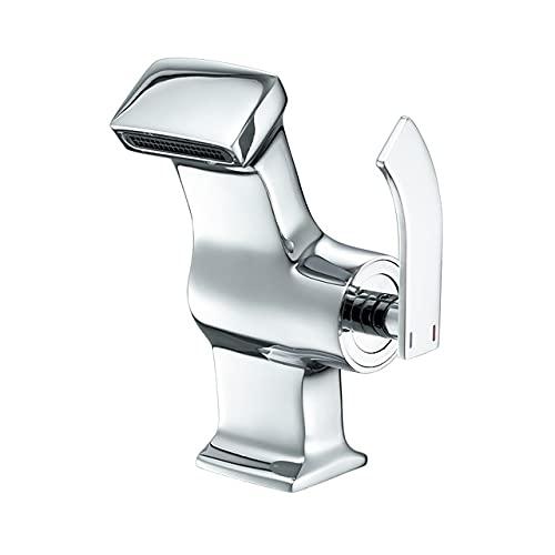 WPHH Grifo para Lavabo Baño En Cascada, Grifo Mezclador De Lavabo para Agua Caliente Y Fría, Grifo De Baño con Válvula De Cerámica De Latón De Una Manija,Plata