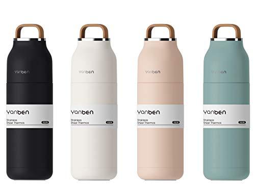 M.S.N Doppelwandige Edelstahl Trinkflasche Thermosflasche Reisebecher für Camping Wandern Ausflüge 350ml auslaufsicher BPA frei, Stainless Steel isolierte Flasche für heiße und kalte Getränke.(Pink)