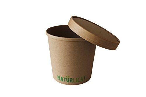 Soup to go Becher NATÜRLICH 12 oz - ca. 300 ml mit Deckel, 2-teilig, naturbraun, PE-beschichtet, biologisch abbaubar (25 Stück)