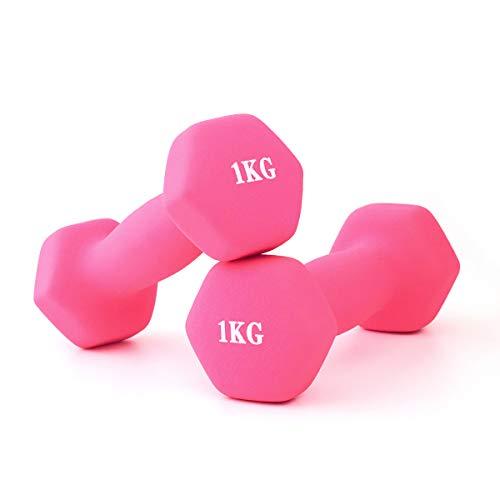 ダンベル 2個セット 美ボディ 1kg エアロビクス 自宅トレーニング 腕力訓練 上腕二頭筋トレーニング ソフトゴムで鉄アレイを包み 男女兼用 工場直営 (ピンク)