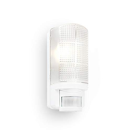 Motion Outdoor Lights Mains Powered - PIR Lights Outdoor - Bulkhead Wall Lights with Motion Sensor - IP44 Rated Security Lights - White Finish - E27 LED Compatible