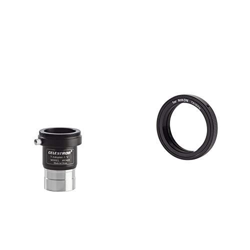 Celestron Raccordo Foto Universale C/Innesto per Fotocamere Reflex, 31.8 mm, Nero & Anello T2 per Nikon, Nero