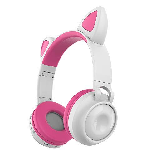 Loijon ZW-028 Fone de ouvido sem fio Bluetooth Brilhante Fones de ouvido com orelha de gato Fones de ouvido com microfone Mãos-livres com microfone Luz colorida ajustável Faixa de cabeça