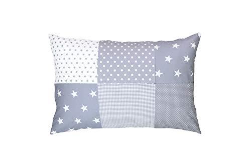 ULLENBOOM ® Baby Patchwork Kissen 40x60 cm Graue Sterne (Made in EU) - mit weichem Bezug & Füllung, ideal als Kinderkissen, Dekokissen im Kinderzimmer oder zur Deko im Wohnzimmer