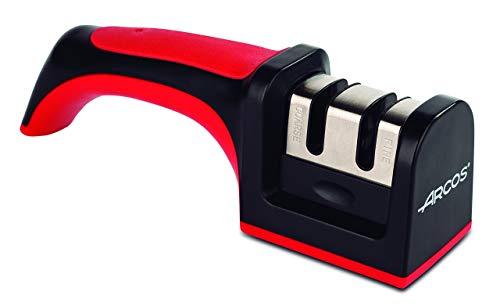 Arcos Afiladores, Afilador de Cuchillos de Mano, Hecho de ABS + TPE, Rodillos Cerámico y Carburo, Color Rojo y Negro