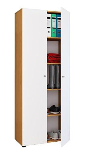VCM Schrank Mehrzweckschrank Dielenschrank Büroschrank Aktenschrank Schuhschrank buche / weiß 178 x 70 x 40 cm
