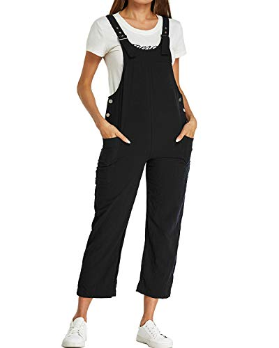 Style Dome Damen Latzhose Loose Overall Jumpsuit Casual Lange Retro Stylisch Sommerhose Schwarz-A14830 M
