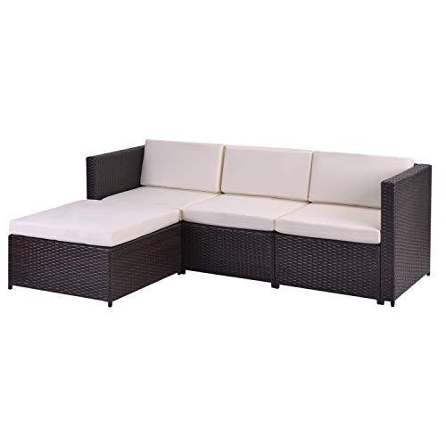 WSDJ Poly Rattan Lounge-Sofagarnitur, Lounge-Gartenm ouml;Bel, Ecksofa, Couchgarnitur mit Sitz- und R uuml;ckenkissen, Lounge-Tisch mit Glasplatte, Braun