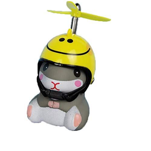 Uayasily Bell de la Bici, Moto Aire Cuerno de Bicicletas con Luces LED Squeeze hélice del Manillar de la Bici Cuernos para los niños pequeños Niños Adultos (Smiley Casco)