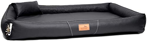 tierlando® Orthopädische Hundematratze Clifford Latex Ortho Kunstleder Anti-Haar Hundebett (CFF6-LL- XXL 150 cm, 03 Schwarz)
