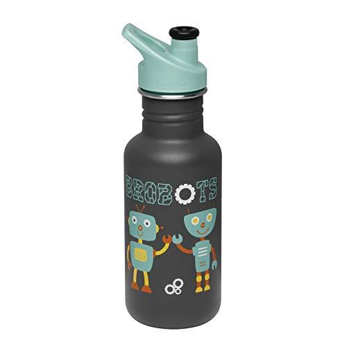 Klean Kanteen Trinkflasche für Kinder, klassisch, 532 ml, mit Sportverschluss, Schwarz , 532ml