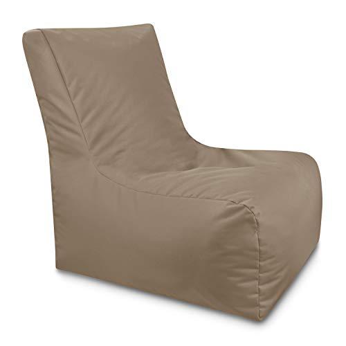 GiantBag Poltrona lounge, per interni, sacco a pelo gigante, impermeabile, con schienale e chiusura lampo, 21 colori e 3 misure a scelta (cappuccino, XXXL)