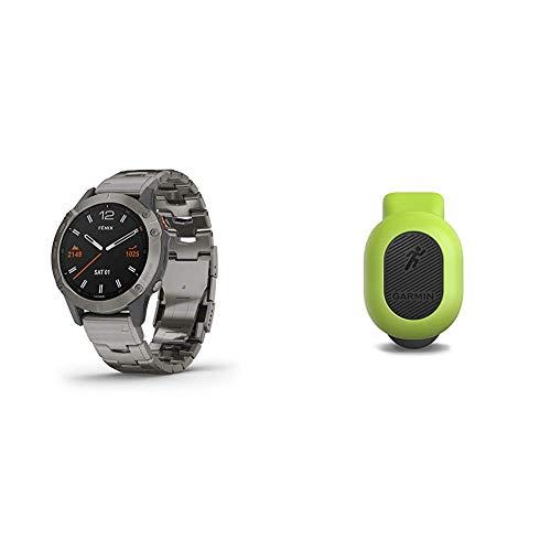 Garmin Fenix 6 Sapphire, Premium Multisport GPS Watch, Features Mapping, Music, Grade-Adjusted Pace Guidance and Pulse Ox Sensors, Titanium & 010-12520-00 Running Dynamics Pod