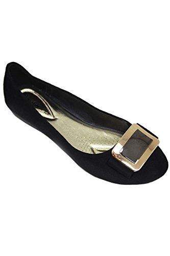 Fantasia Boutique flh883 Madalyn II Boucle Accent Faux Daim Mode Escarpins Élégant Chaussures Plates - Noir, 40