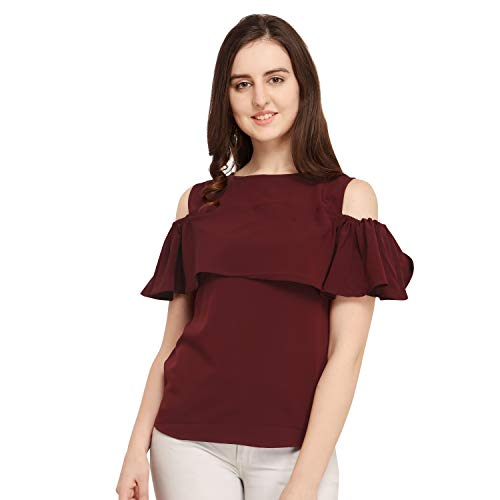 J B Fashion Women's Plain Regular fit Top (DESIGN-01-M_Maroon_Medium)